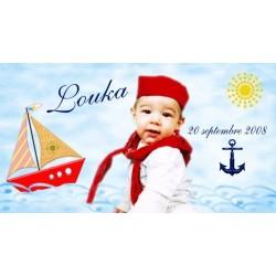 Etiquette dragées baptême marin