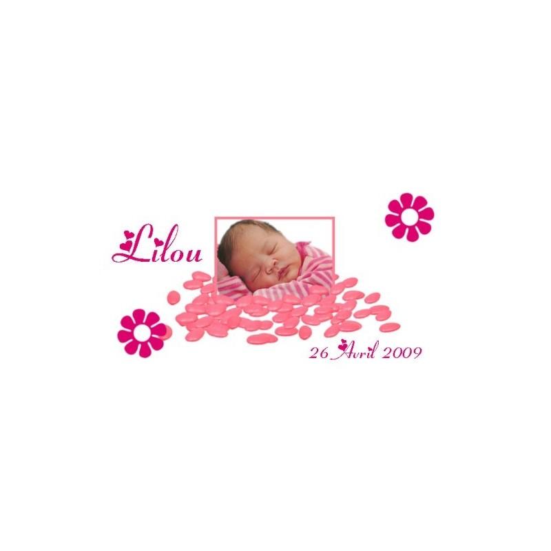 étiquette motif dragées rose