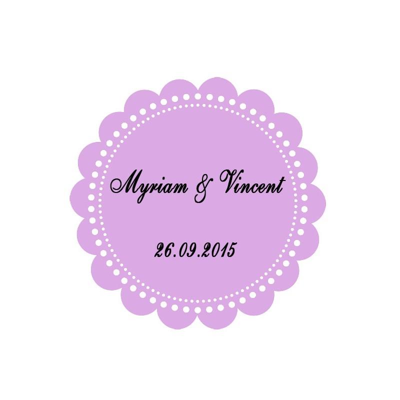 étiquette dragées ronde festonnée lilas