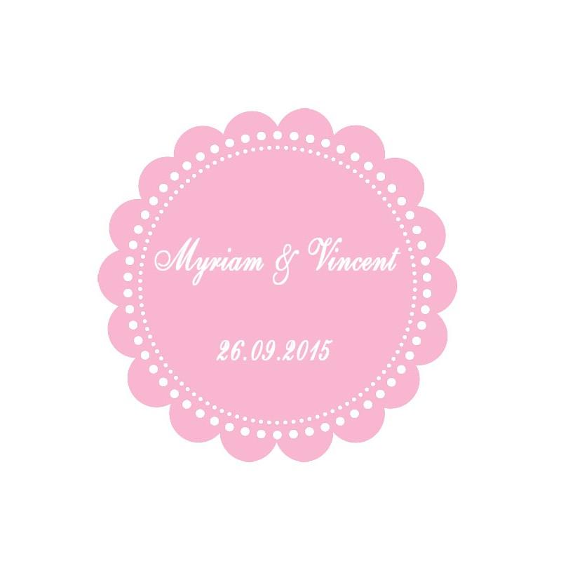 étiquette dragées ronde festonnée rose