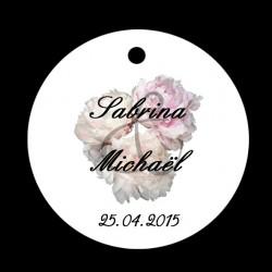 étiquette dragées mariage ronde fleuries