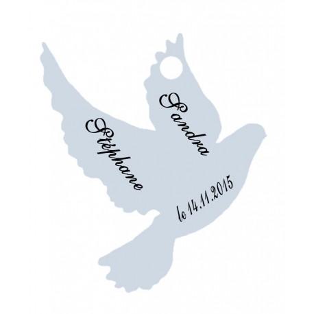étiquettes dragées colombe bleu