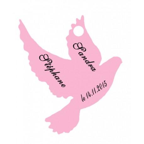 étiquettes dragées colombe rose