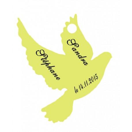 étiquettes dragées colombe vert anis
