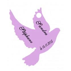 étiquettes dragées colombe lilas