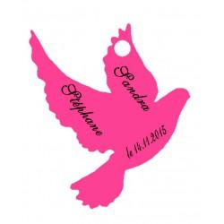 étiquettes dragées colombe fushia