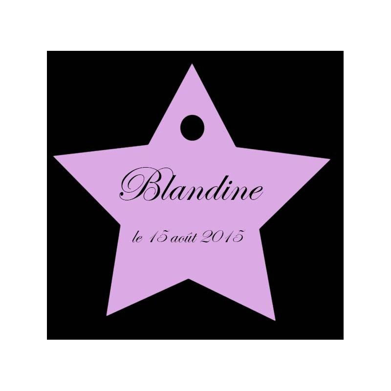 étiquettes dragées étoile lilas