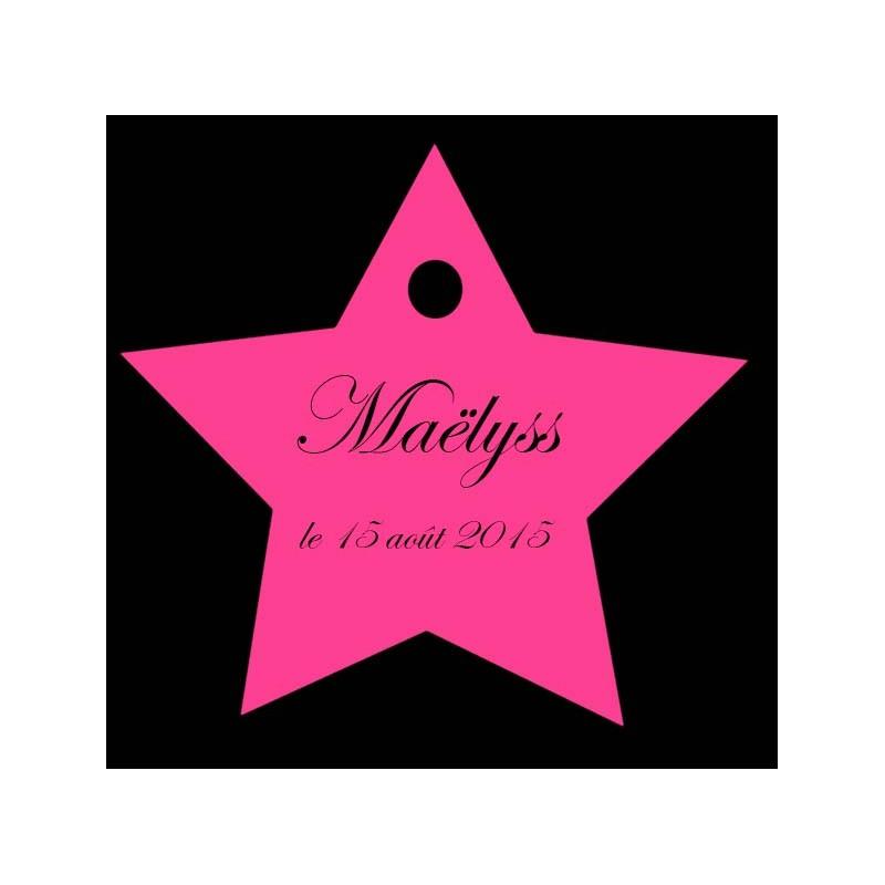 étiquettes dragées étoile fushia