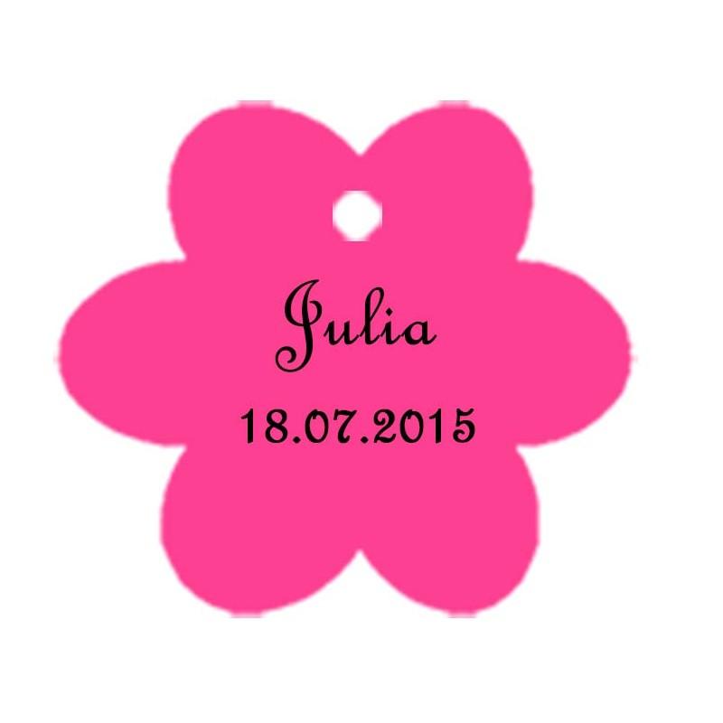 étiquettes dragées fleur fushia