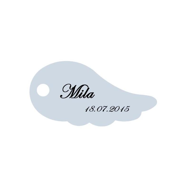 étiquette dragées aile d'ange bleu