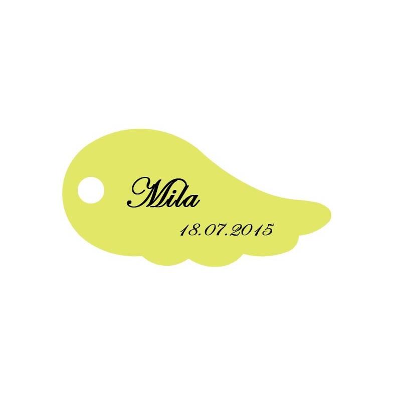étiquette dragées aile d'ange vert anis