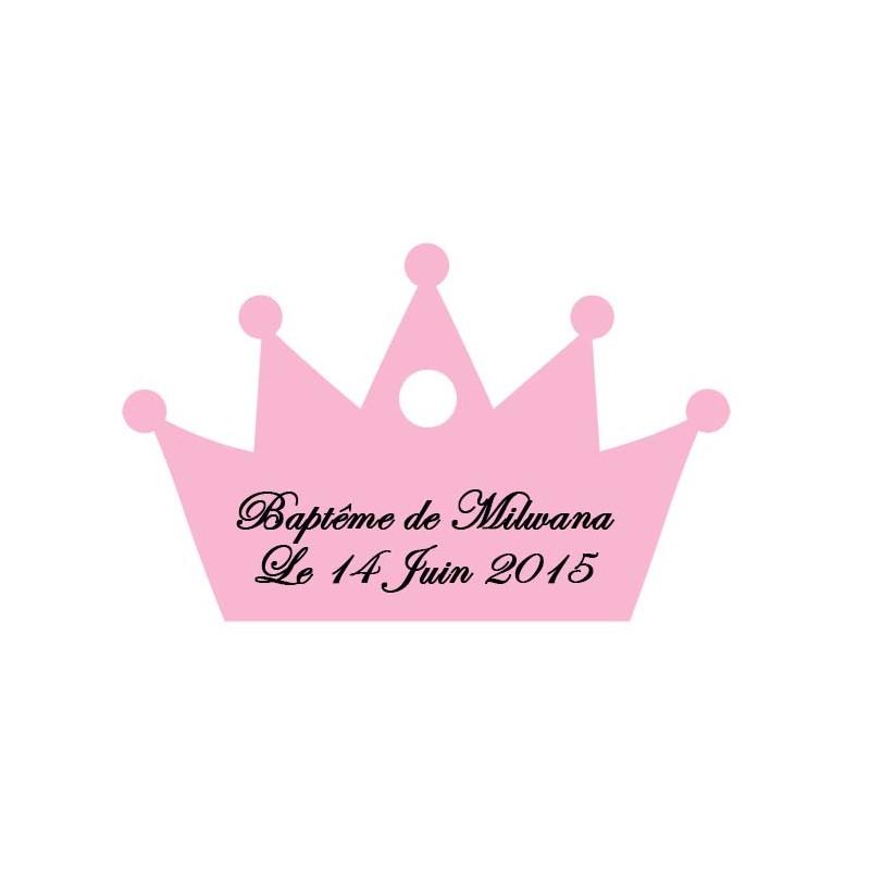 étiquette dragées couronne rose