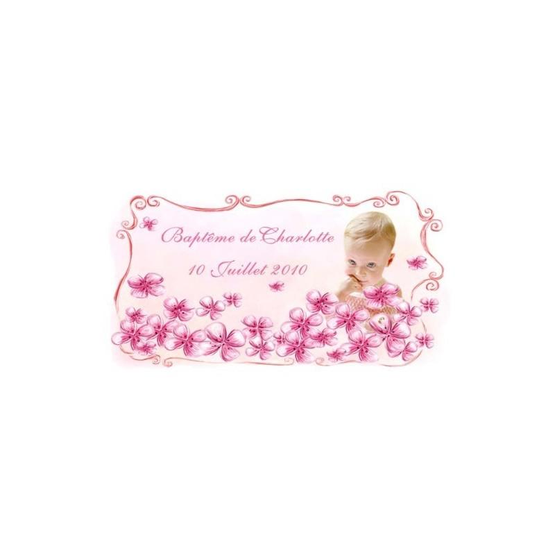 étiquette dragées petites fleurs