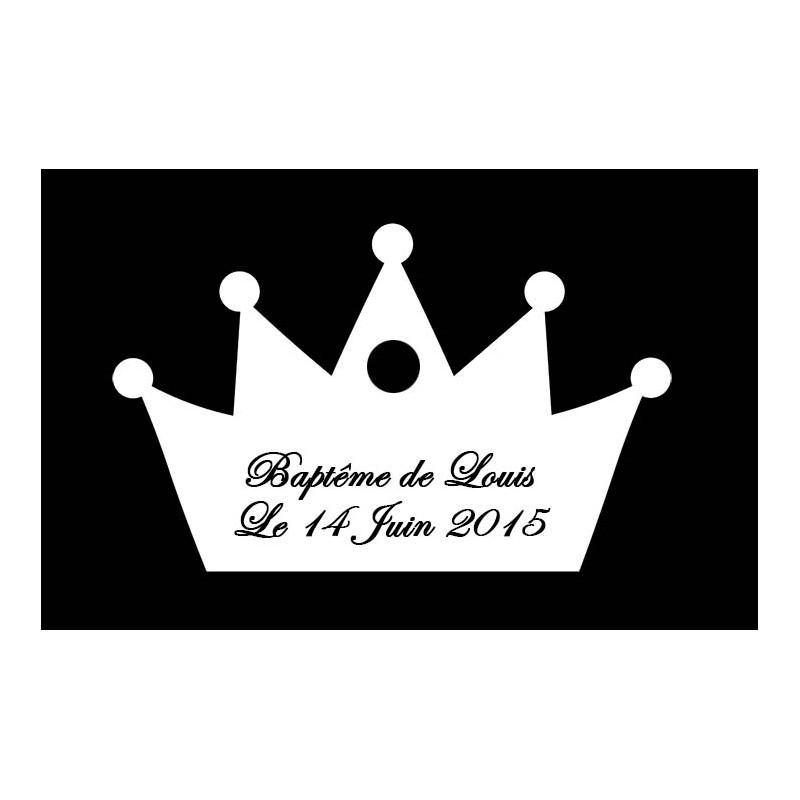 étiquette dragées couronne blanche