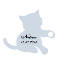 étiquette dragées chaton bleu
