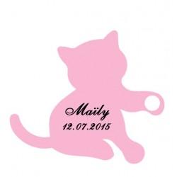 étiquette dragées chaton rose