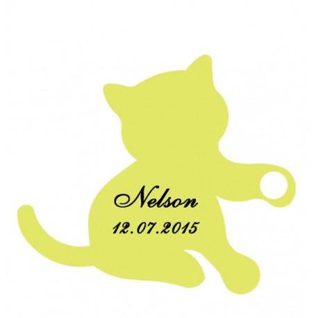 étiquette dragées chaton vert anis