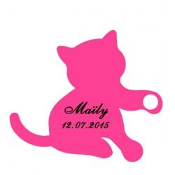étiquette dragées chaton fushia
