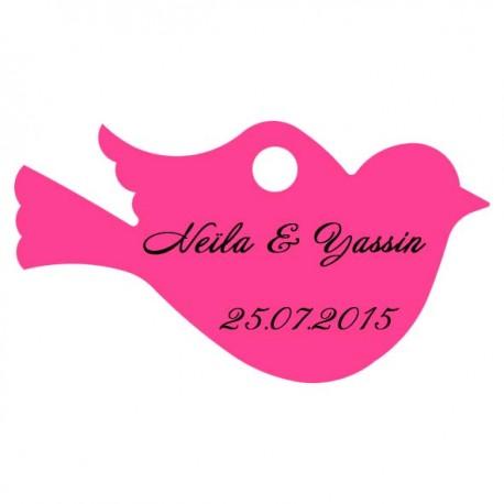 étiquette dragées oiseau fushia