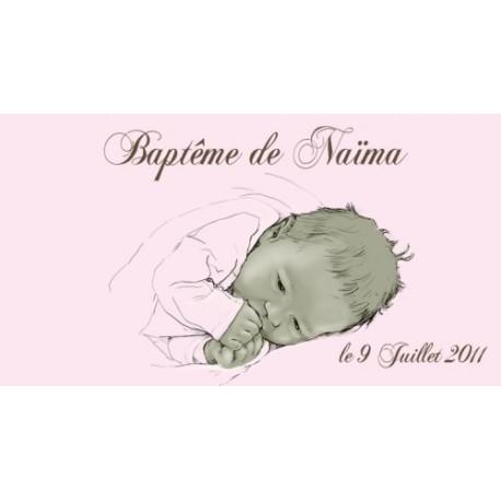 étiquette dragées rose