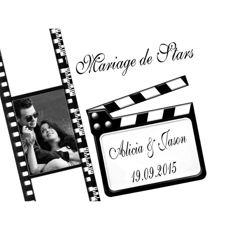 étiquette dragées mariage thème cinéma