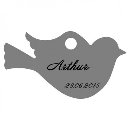 étiquette dragées oiseau gris