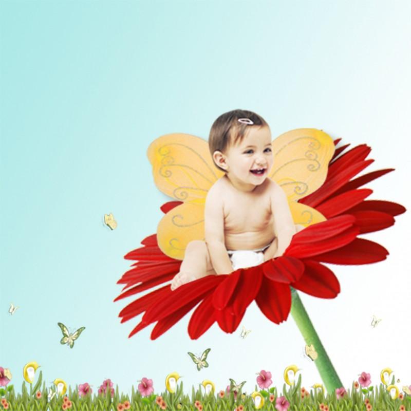 """Affiche montage photo """"sur une fleur"""""""