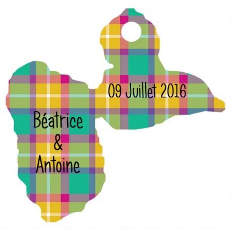 étiquette dragées carte Guadeloupe madras