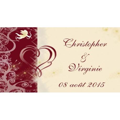 étiquette mariage ivoire et bordeaux motif coeur et ange