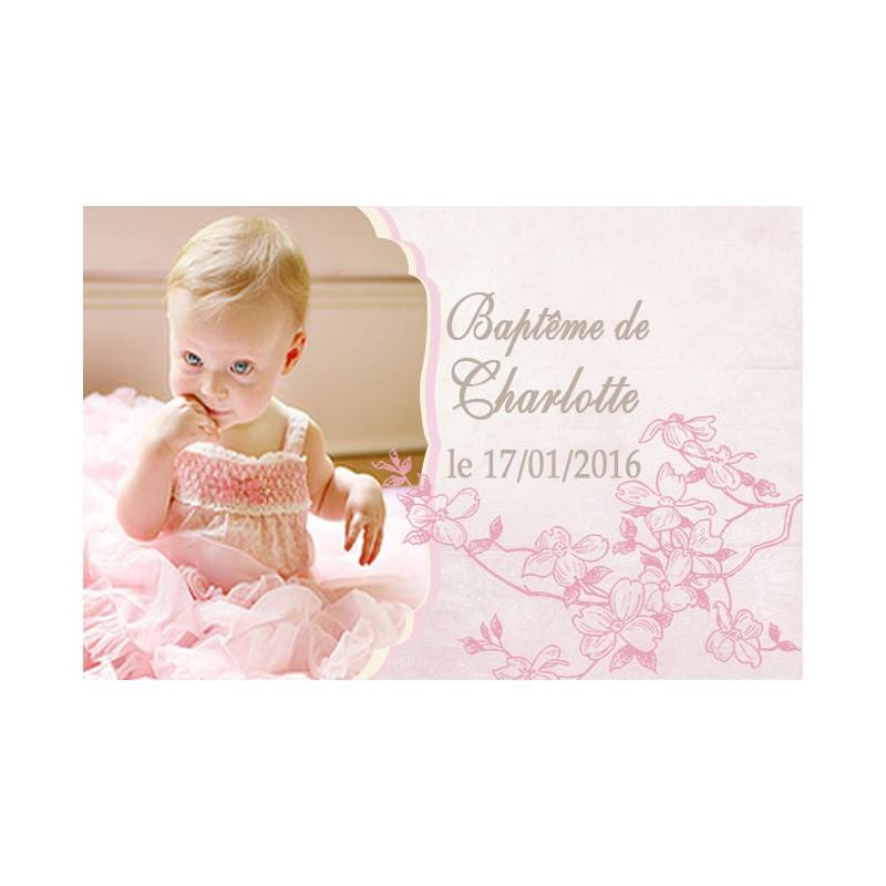 Etiquette dragées motif fleuri coloris rose
