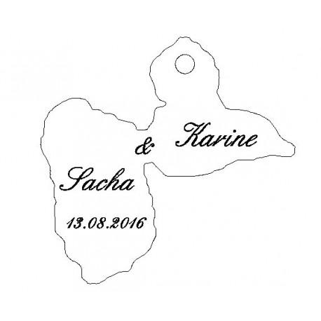 étiquette dragées carte Guadeloupe