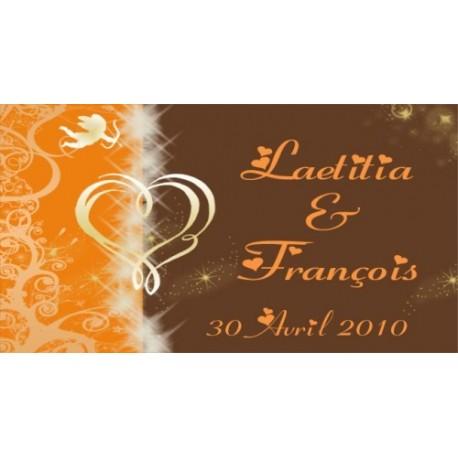 étiquette mariage orange chocolat