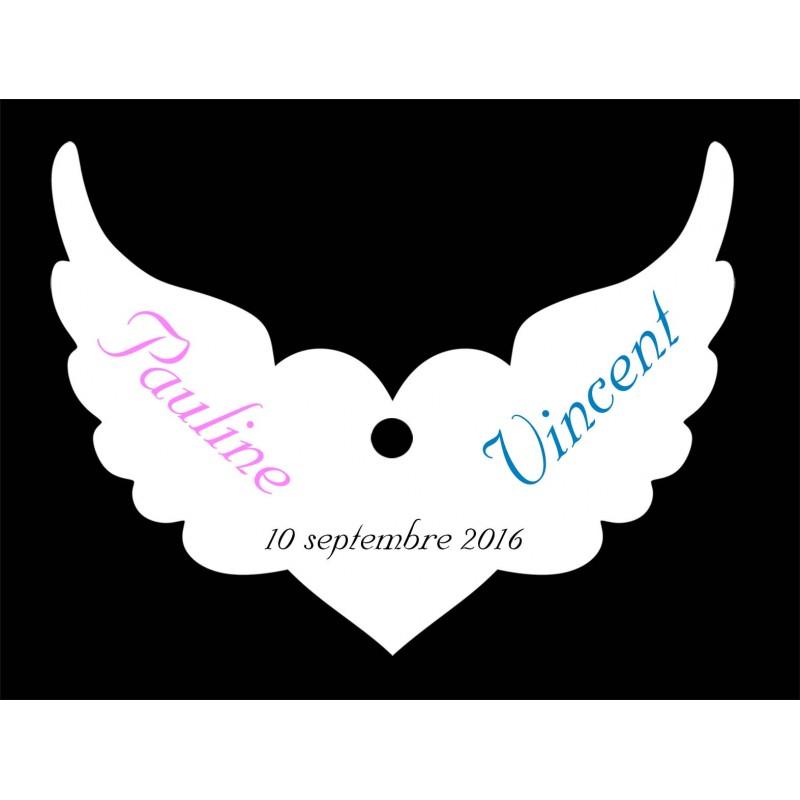 étiquette dragées coeur ailes d'ange