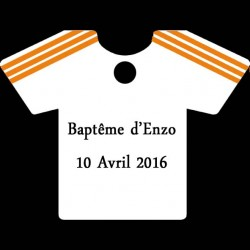étiquette à dragées maillot football blanc et orange