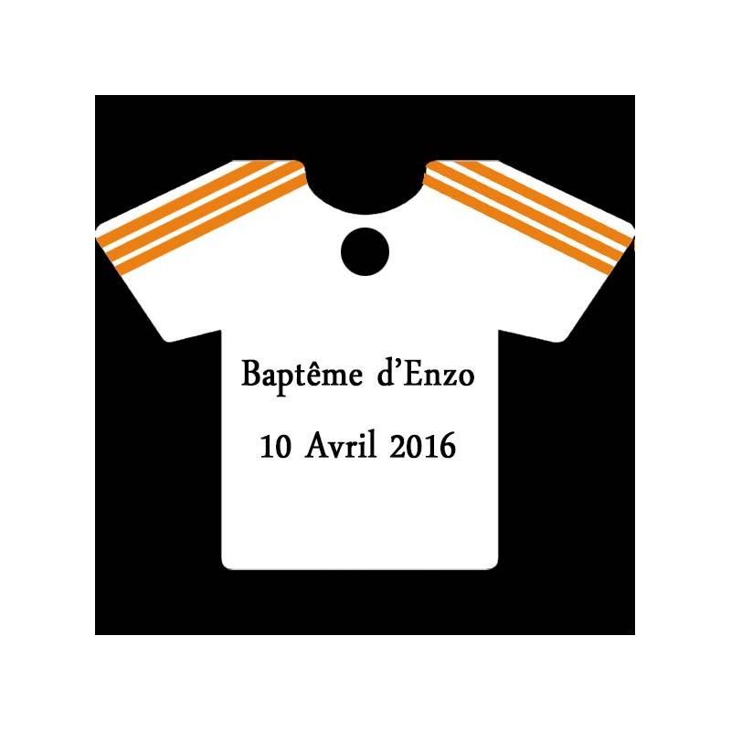 étiquette à dragées maillot football blanc et orange