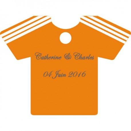 étiquette à dragées maillot football orange