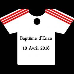 étiquette à dragées maillot football blanc et rouge