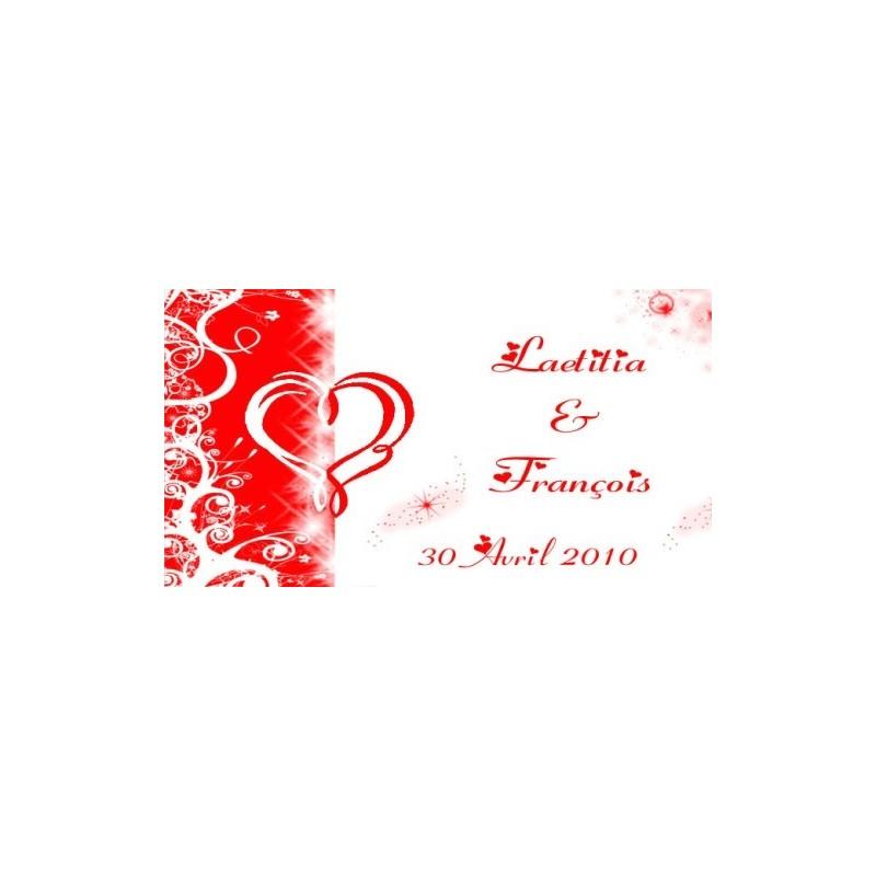 étiquette dragées mariage rouge et blanc