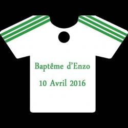 étiquette à dragées maillot football blanc et vert