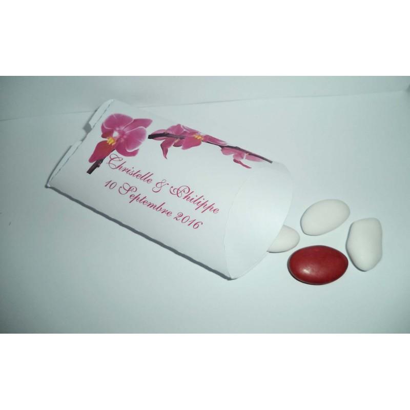 boite à dragées mariage motif orchidées