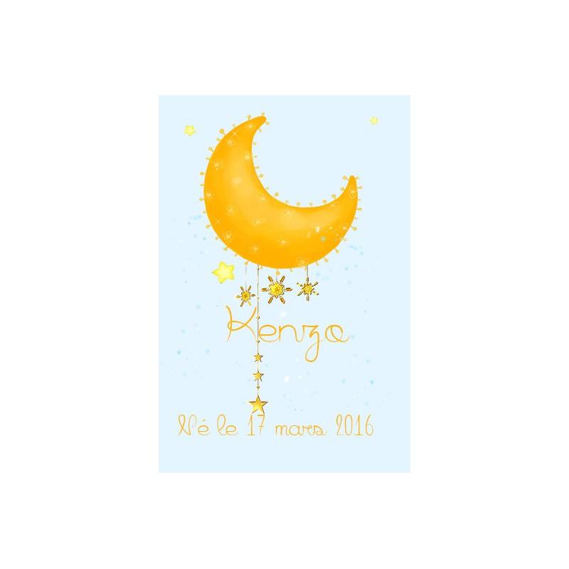 étiquette dragées thème lune et étoile