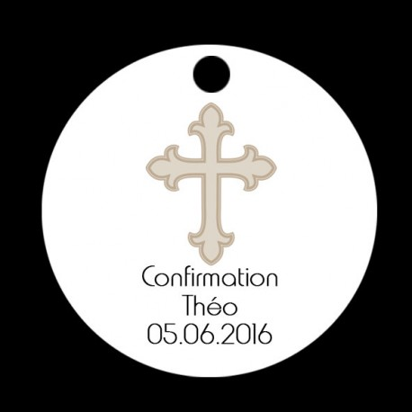 Etiquette dragées ronde blanche motif croix