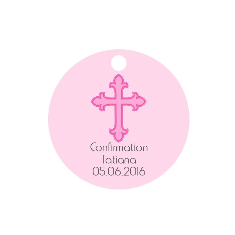 Etiquette dragées ronde rose motif croix