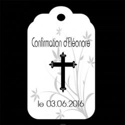 étiquette dragées festonnée motif croix