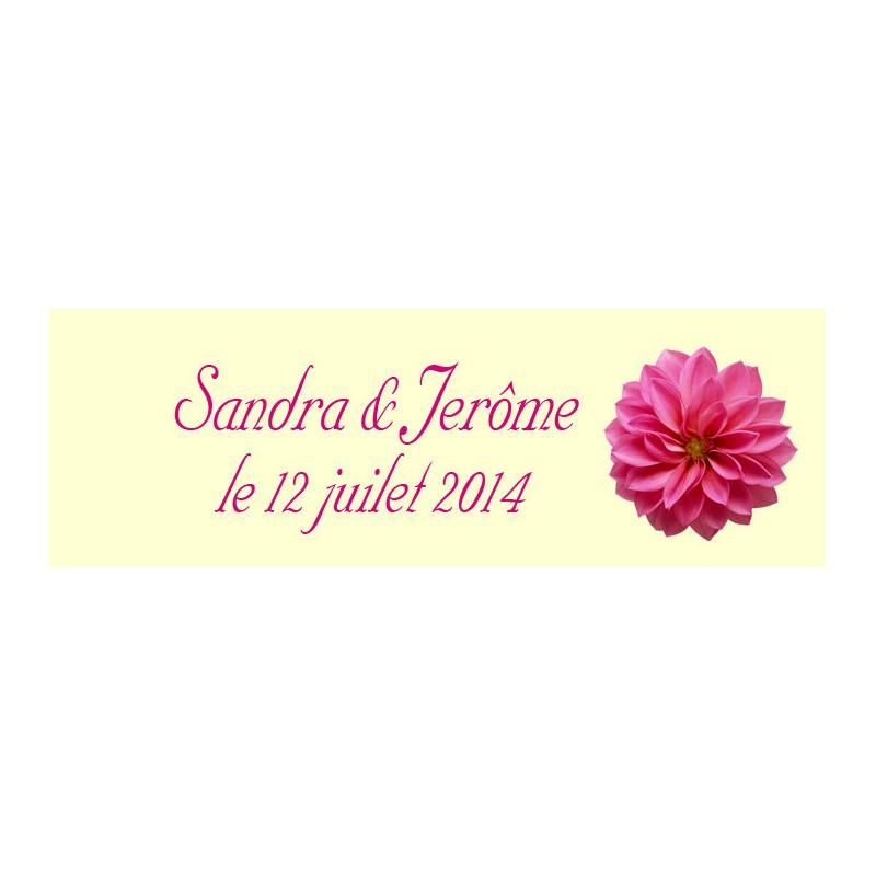étiquette dragées motif floral