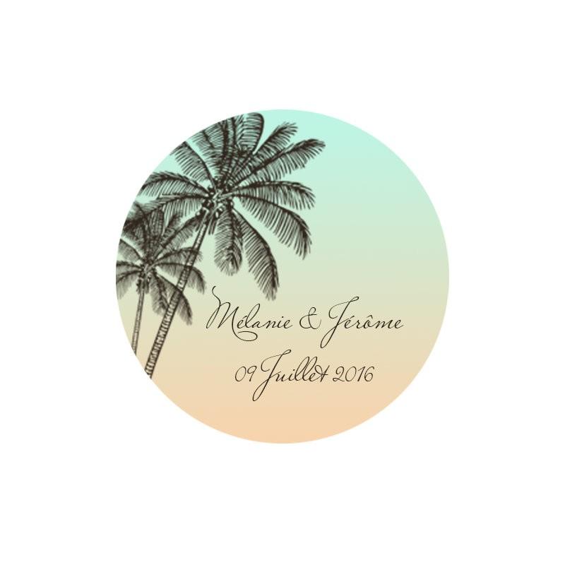 étiquette dragées ronde thème plage
