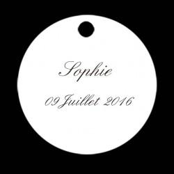 étiquette dragées simple ronde blanche