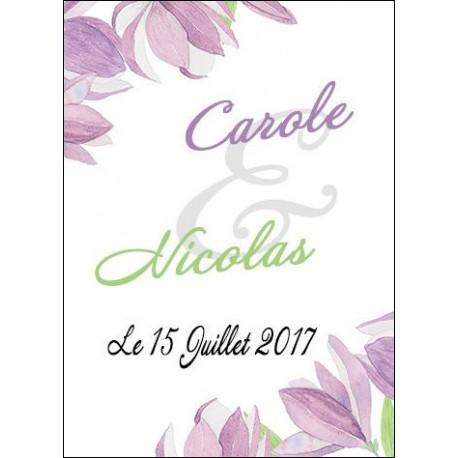 étiquette dragées motif fleur violet